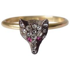 Victorian Silver Gold Diamond Fox Ring