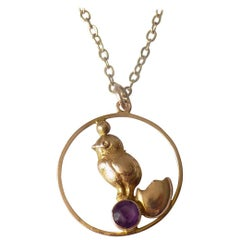 "Edwardian Amethyst Chick ""Good Luck"" Gold Pendant Necklace"