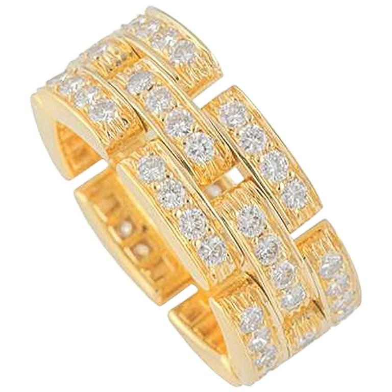 Cartier Maillon Panthere Yellow Gold Diamond Ring 1