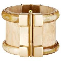 Fouché Cuff Bracelet Gold Bespoke Horn Wood Ruby Emerald Fire Opal