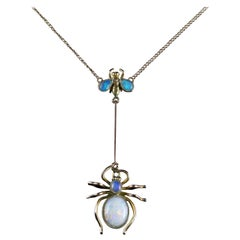 Antique Victorian Opal Spider Fly Necklace, circa 1900