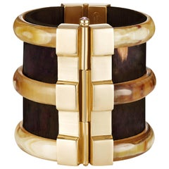 Fouché Bespoke Diana Vreeland Horn Emerald Ruby Sapphire Wood Cuff Bracelet