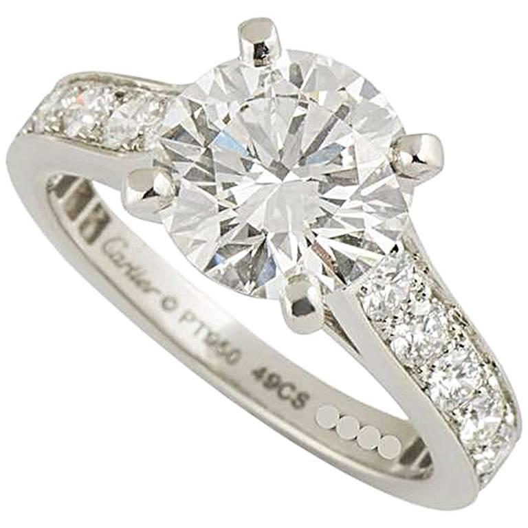 Cartier 1895 Diamond Platinum Engagement Ring At 1stdibs