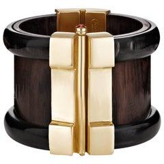 Fouché Bespoke Horn Wood Emerald Cuff Bracelet