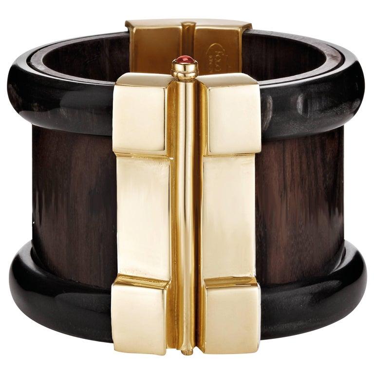 Fouché Cuff Bracelet Gold Bespoke Horn Wood Emerald Ruby