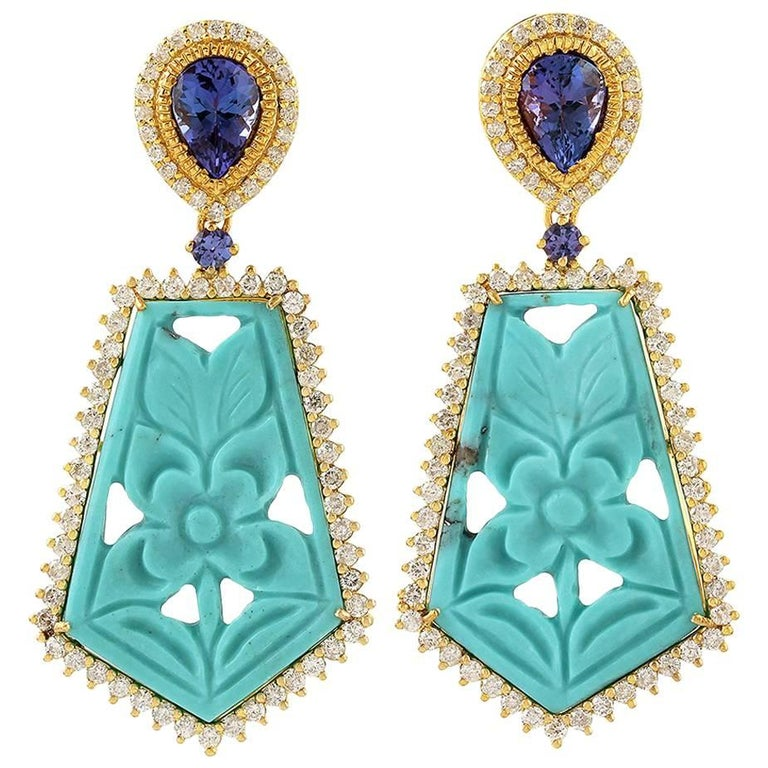 Carved Turquoise Earring with Diamonds and Tanzanite