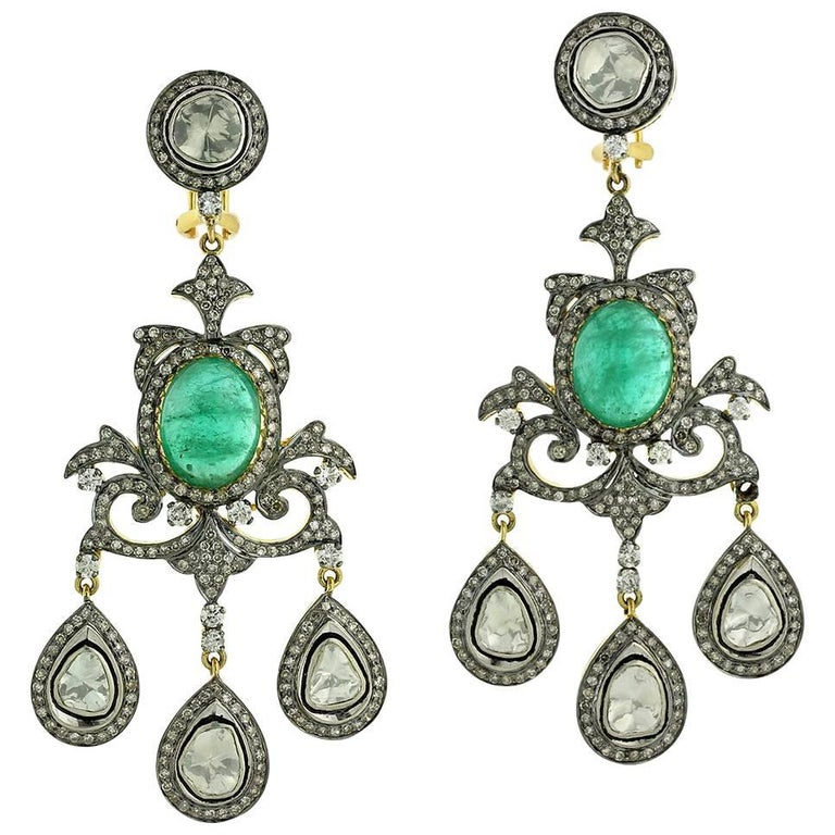 Indian Emerald Diamond Chandelier Earrings