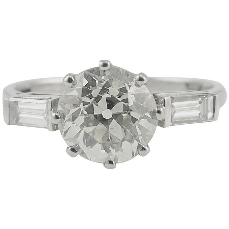Old European Cut Diamond Solitaire Ring, 1.52 Carat