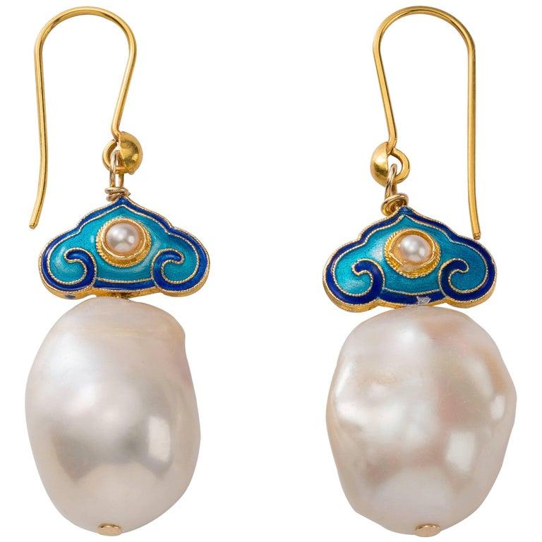 Chinoiserie Cloisonné Vermeil Pearl Drop Earrings
