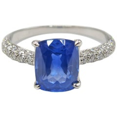 2.01 Carat Cushion Cut Natural Ceylon Sapphire Diamond Platinum Engagement Ring