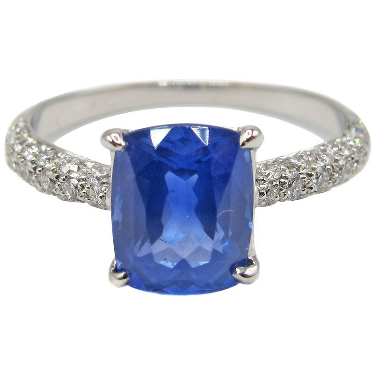 2 01 Carat Cushion Cut Natural Ceylon Sapphire Diamond Platinum Engagement Ri