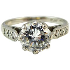 Old Cut Diamond Ring, 1.06 Carat Solitaire, 18 Carat White Gold and Platinum