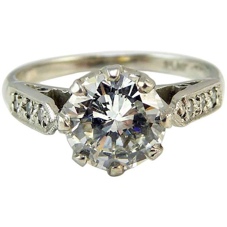 Old Cut Diamond Ring, 1.06 Carat Solitaire, 18 Carat White Gold and Platinum For Sale