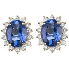 Tanzanite and Diamond Cluster Earrings in 18 Karat Yellow Gold