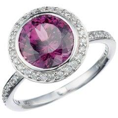 Rhodolite Garnet and Diamond Ring in Platinum