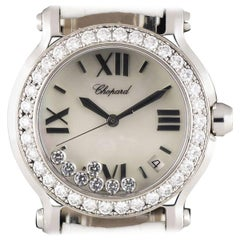 Chopard Ladies Stainless Steel Mother-of-Pearl Dial Happy Diamonds Wristwatch