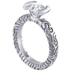 1 Carat Alex Soldier Diamond Valentine Engagement Ring in White Gold