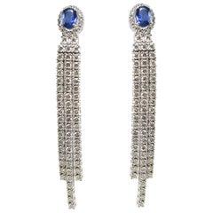 Blue Sapphire Diamond Linear Drop Earring