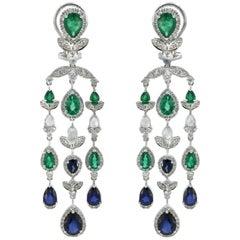 Blue Sapphire Emerald Diamond Chandelier Earring