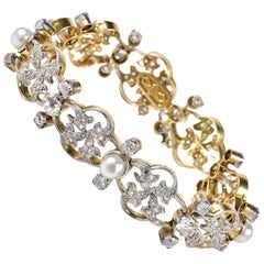 Art Nouveau 9.50 Carat Diamond Natural Pearls Rare Bracelet
