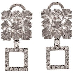 Carrera y Carrera Ginkgo Leaf Diamond Gold Clip-On Earrings