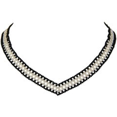 Marina J Black and White V Necklace with Pearls and Onyx Beads