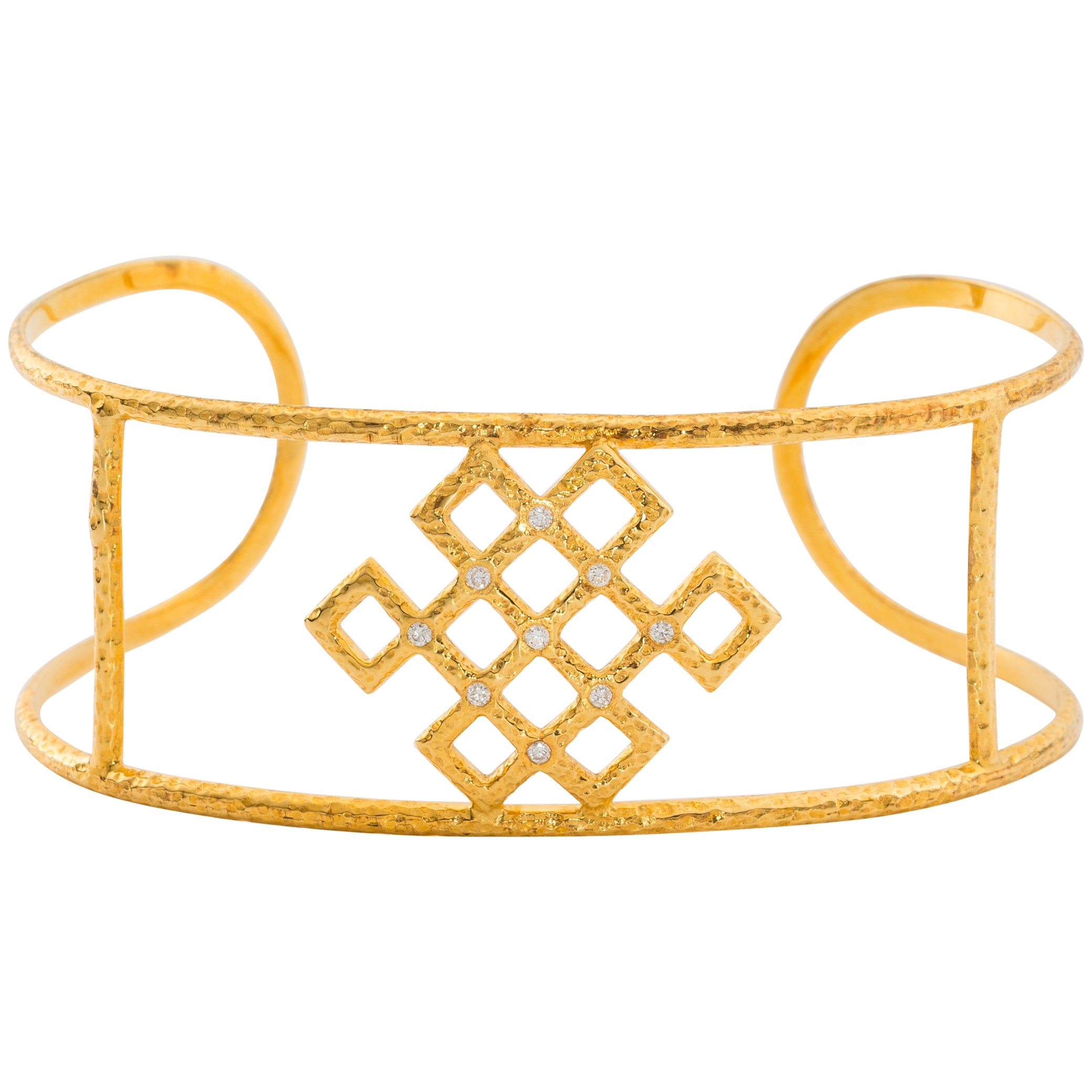 Chinoiserie Endless Knot Cuff, Hand-Hammered Solid 18 Karat Gold and Diamonds