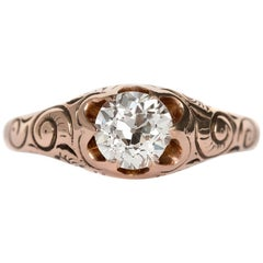 1900 Late Victorian 14 Karat Yellow Gold 0.86 Carat Diamond Engagement Ring