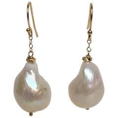 Marina J Large Baroque Pearl Dangle Earrings