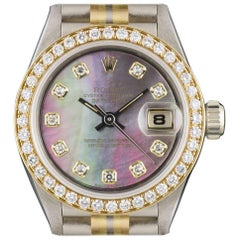 Rolex Ladies Tridor Diamond Set Black Mother-of-Pearl Dial Wristwatch Ref 69139