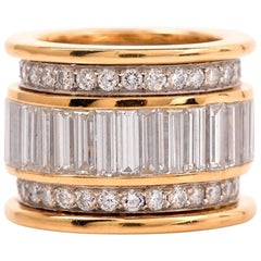 Wide Round Baguette Diamond Wide Eternity Band Ring