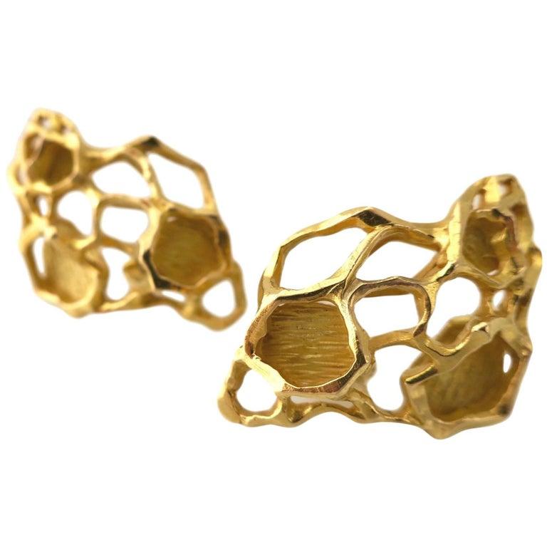 Gubelin Gold Modernist Earrings, 1970s