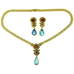 Blue Topaz, Diamond, Citrine and Sapphire Earring and Necklace Two-Piece Set