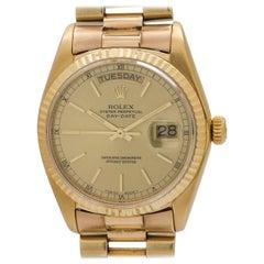 Rolex Yellow Gold Day Date Self Winding Wristwatch Ref 18038, circa 1978