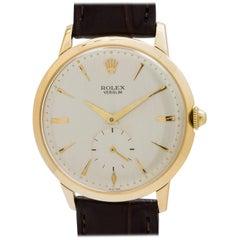 Rolex Yellow Gold Veri Slim Manual Wind Dress Model Wristwatch, circa 1950s