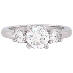 Three-Stone Platinum Diamond Engagement Ring. Approx 1.25ct total weight
