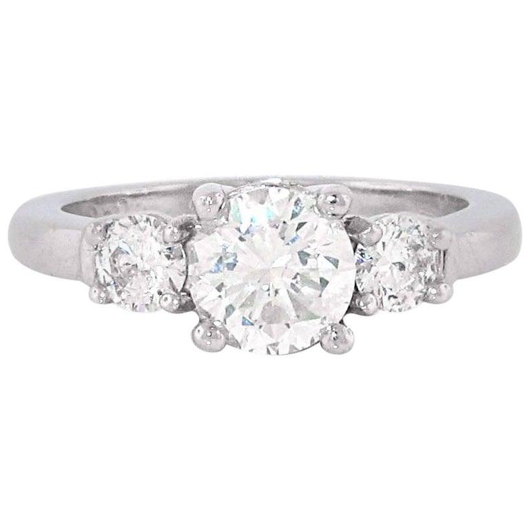 Stones Platinum: Three-Stone Platinum Diamond Engagement Ring For Sale At 1stdibs