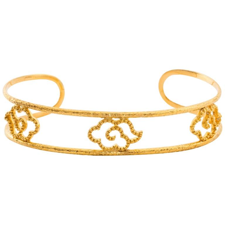 Chinoiserie Cloud Motif Cuff, Hand-Hammered Solid 18 Karat Gold