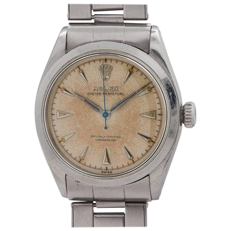 Rolex Stainless Steel Oyster Perpetual Self Winding Wristwatch, circa 1950 For Sale