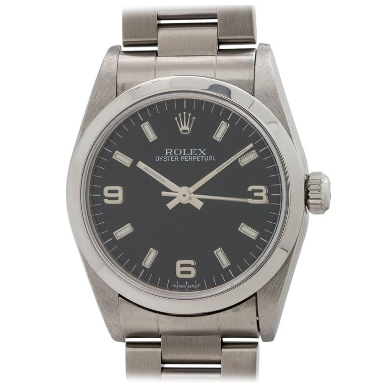 Rolex Stainless Steel Oyster Perpetual Midsize Wristwatch Ref 77080, circa 1998 For Sale