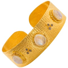 Hand-Hammered Gold Moonstone Diamond Cuff