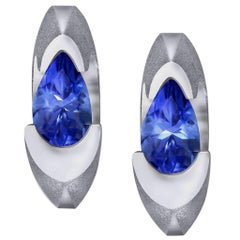 Alex Soldier Passion Tanzanite White Gold Stud Earrings One of a Kind