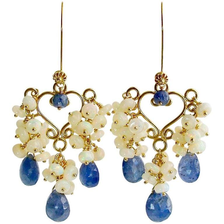 Tanzanite Opal Cluster Chandelier Earrings, Laudine Earrings
