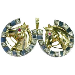 Double Horse Shoe with Horse Head Equestrian Gold Diamond Pendant