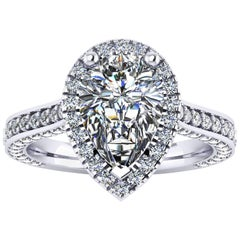 Ferrucci GIA Certified 1.90 Carat D Color Pear Shape Diamond Engagement Ring