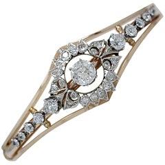 3.75 Carat Total Weight Diamond Antique Bracelet Platinum and Yellow Gold
