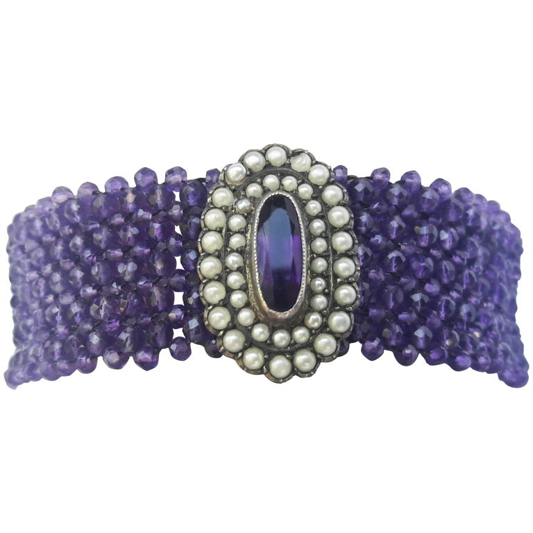Marina J Woven Amethyst Beaded Bracelet with Pearl and Amethyst Centrepiece