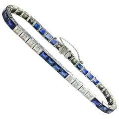 Art Deco Platinum Diamond and Synthetic Sapphire Bracelet