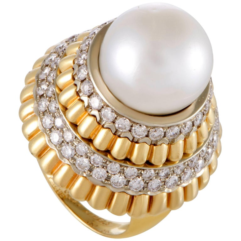 Van Cleef & Arpels Diamond and South Sea Pearl Yellow Gold Cocktail Ring
