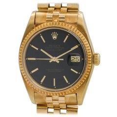 Rolex Yellow Gold Black Dial Datejust Wristwatch Ref 1601, circa 1977